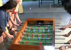 T-girls strip down unmentionables and nylons carrying-on foosball