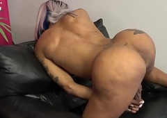 Tattooed ebony tgirl close to big relative to ass peerless