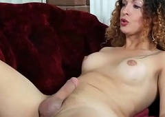 Jerking tgirl playthings ass and jerks cock