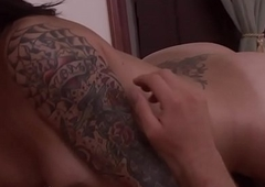 Inked trans babe in arms rails masseur blarney plough jism