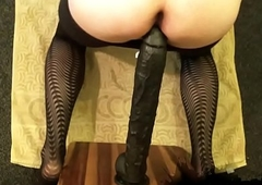 Sexy sissy and very bottomless gulf black dildo