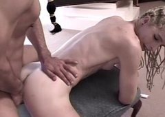 Smalltit tgirl assfucked and covered in jizz
