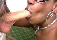 Ghetto-blaster in glasses purses big black ass added to deep-throats cock