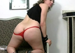 Chubby Tgirl around red thongs exposes chunky boobs plus tranny flannel