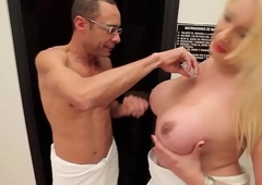 Doggystyled shemale takes fixed dick
