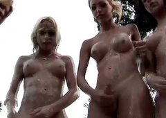 Four trannies get messy and fuck tight anal fuckholes outdoors