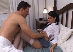 Gorgeous shemale schoolgirl get screwed