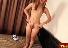 Young vest-pocket thai tgirl models her ass