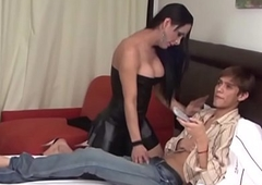 Transsexual giving facial cumshot