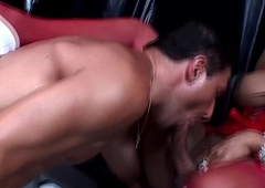 Glam european lady-boy gets blowjob