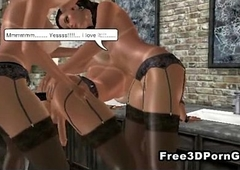 Two sexy 3D cartoon honeys fucked unconnected with a hot shemale