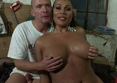 Busty black tranny fucks tied panhandler in his face hole and aggravation